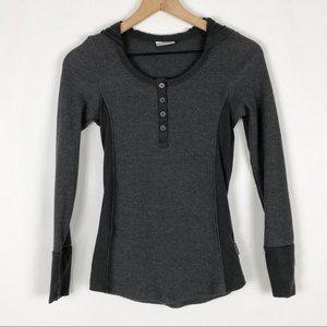 Columbia Grey Long Sleeve Hoodie Henley Top Sz XS